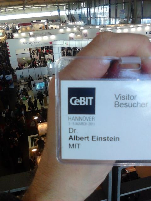 Meine CeBIT-Badge, myself